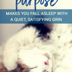 Living Your Purpose Makes You Fall Asleep with a Quiet, Satisfying Grin